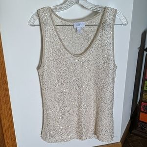 LOFT Cream Knit Tank with Gold Sequins (L)